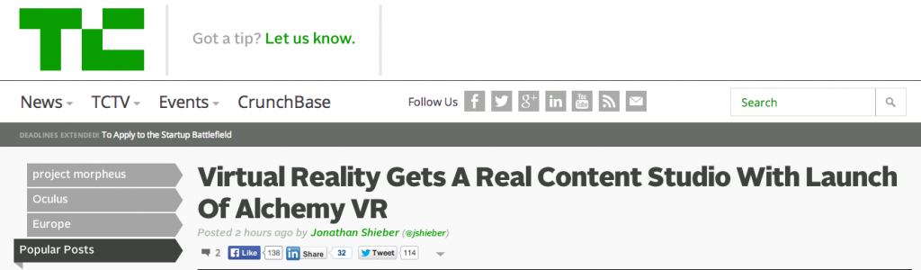 Virtual Reality Gets A Real Content Studio With Launch Of Alchemy VR - TechCrunch - small 2